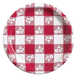17cm size gingham plates - pack of 24