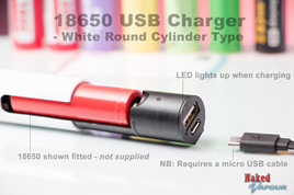 18650 USB Charger - White Round Cylinder Type