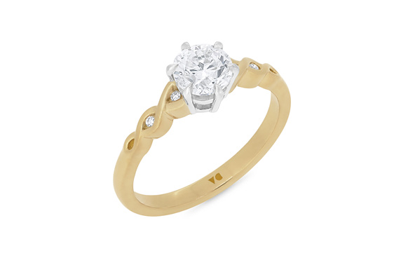 18ct Yellow Gold and Platinum Diamond Solitaire Engagement Ring NZ