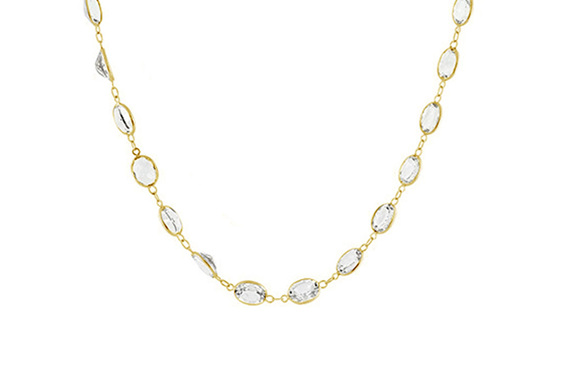 18ct yellow gold white oval topaz necklace