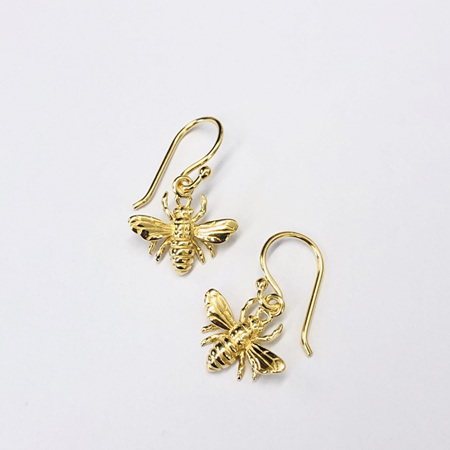 18k Gold Bee Hook Earrings