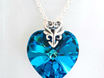 18mm Heart Pendant Bermuda Blue