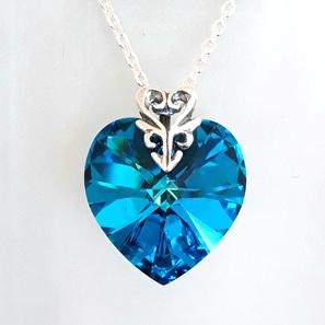 18mm Heart Pendant Bermuda Blue