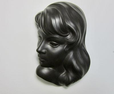 1950s/60s Wormser Terra-Sigillata Wall Art Diana 790 Mask in Black