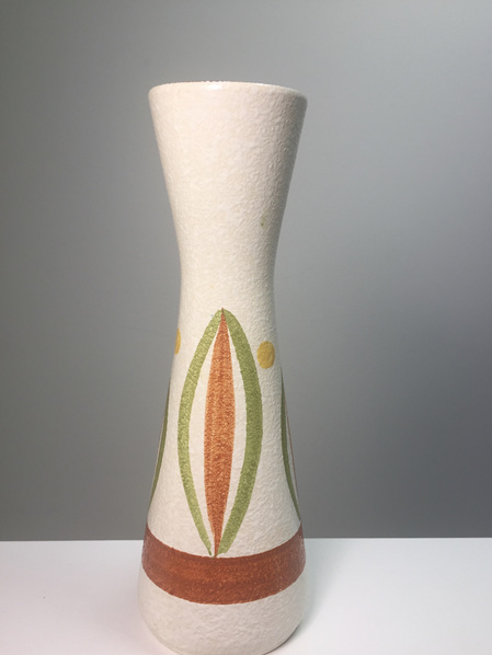 1950s Handpainted West German Pottery Vase