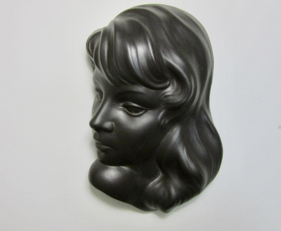 1950s/60s Wormser Terra-Sigillata Wall Art Diana 790 Mask in Black