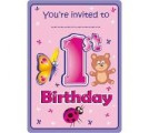 1st Birthday Animals Party Invites x 8