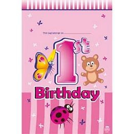 1st Birthday Animals Party Loot Bags x 8