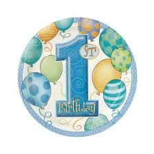 1st Birthday Blue Party Plates x 8