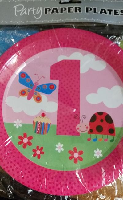 1st Birthday Ladybird Plates x  8