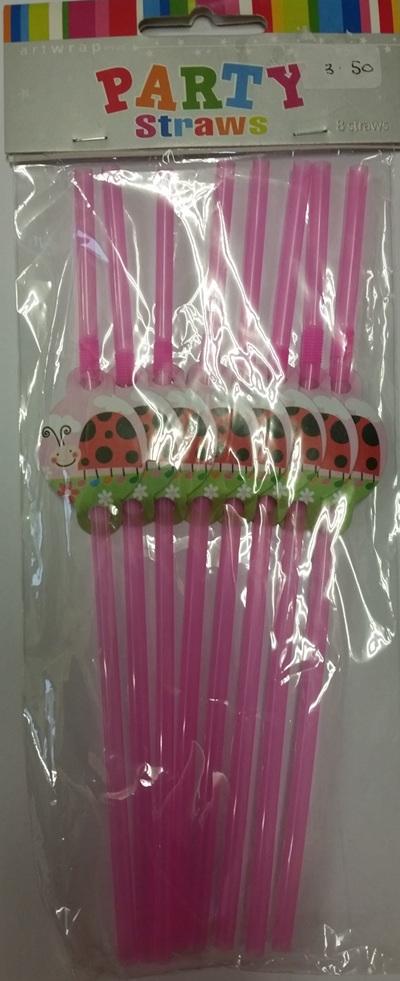 1st Birthday Ladybird straws x 8