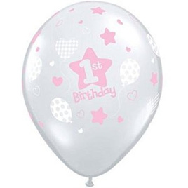 1st birthday latex balloon x 1 - blue or pink