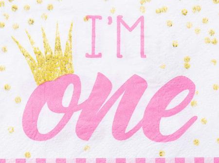 1st Birthday pink beverage napkin