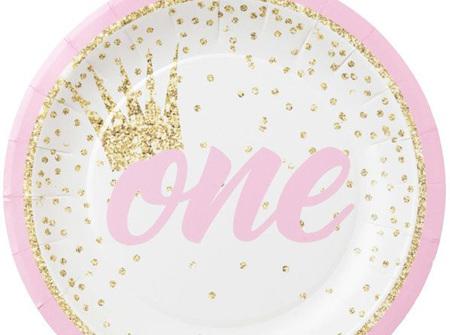 1st Birthday Pink cake plates