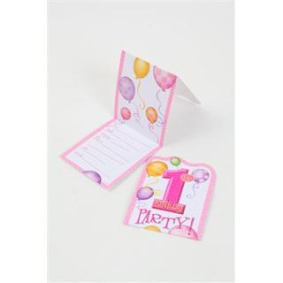 1st Birthday Pink Invites x 8