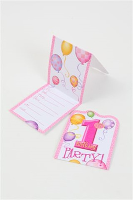 1st Birthday Pink Invites x 8