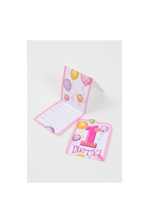 1st birthday pink invites x 8 kingfisher gifts party xmas