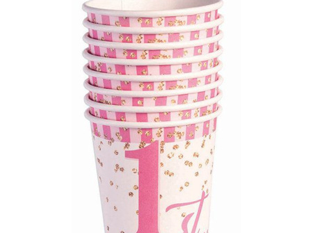 1st Birthday pink paper cups