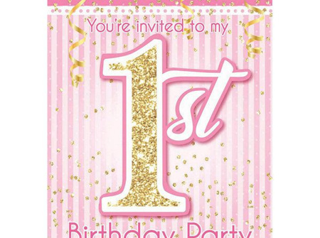 1st Birthday pink party invites