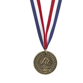 1st Place Gold Medal  - Metal on red/white/blue Ribbon