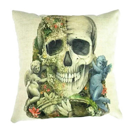 2 Halves Skulls & Cupids Cushion Cover
