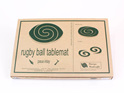 2 in 1 rugby ball table mat with paua rimu packaging