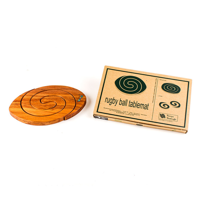 2 in 1 rugby tablemat - rimu with paua map - made in new zealand