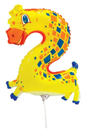 2 Number Giraffe Foil Balloon