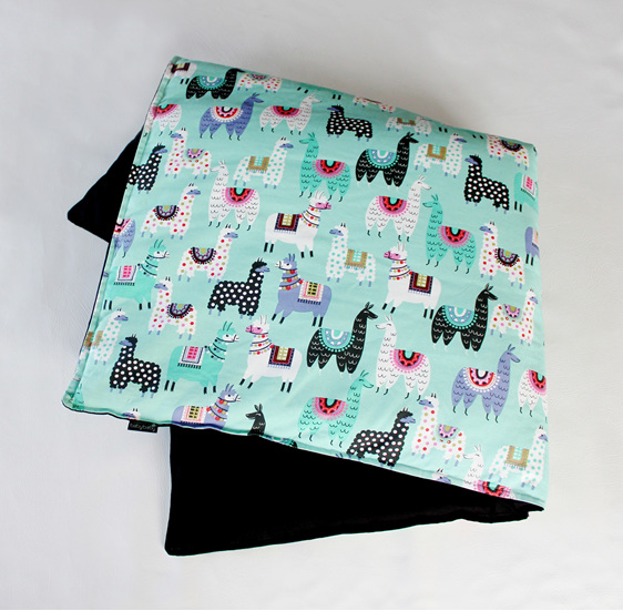 "2"" thick padded childs mat with a mint green fabric covered in cute Llamas"