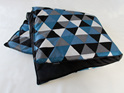 "2"" thick padded childs play mat with blue, black & grey trinagle pattern"