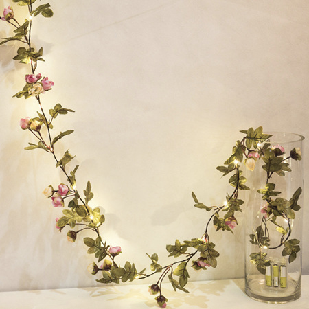 2 Way Powered USB and Battery 2m  Pink Rose Garland Copper Wire Seed Fairy Lights