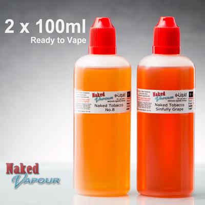 2 x 100ml - Ready to Vape - Naked Vapour e-Liquid
