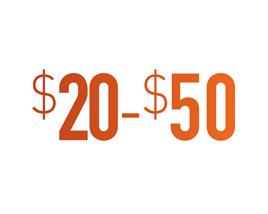 $20 - $50