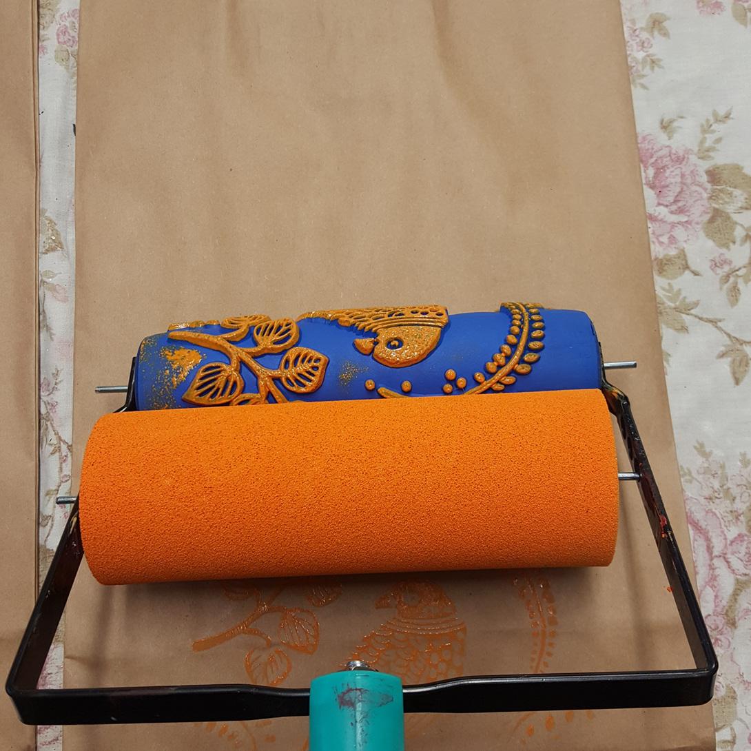 Bird of Paradise decor Art Roller with Bohemian Orange Fossil Paint