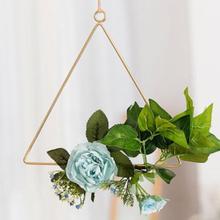 20cm Dusty Blue Flower Triangle Hoop - Blue