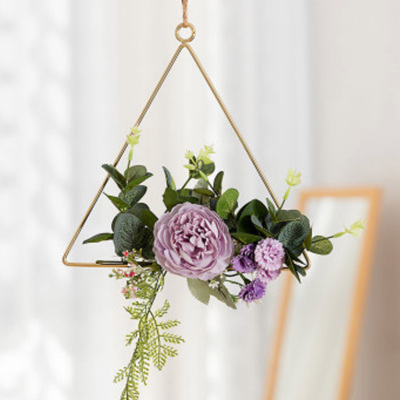 20cm Dusty Purple Flower Triangle Hoop - Purple