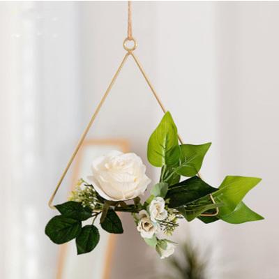 20cm Ivory Flower Triangle Hoop - Peach