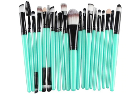 "20pc Makeup Brush Set - Green and ""Black"""