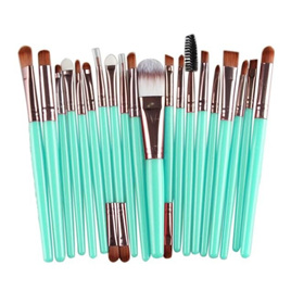 "20pc Makeup Brush Set - Green and ""Brass"""