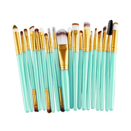 "20pc Makeup Brush Set - Green and ""Gold"""