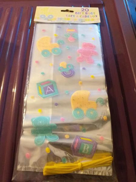 20PK BABY GIFT BAGS - PRAM TEDDY DUMMYS