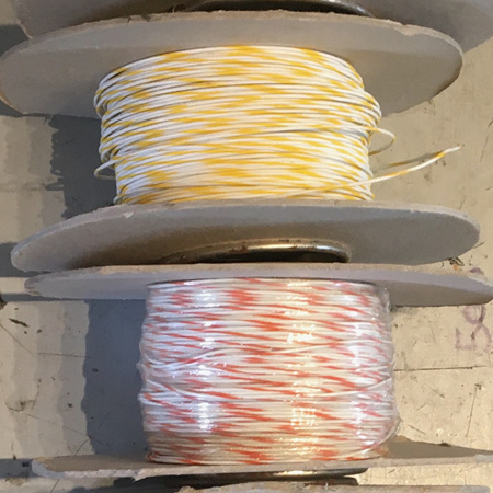 22 AWG white with stripe