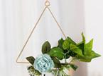 25cm Dusty Blue Flower Triangle Hoop - Blue