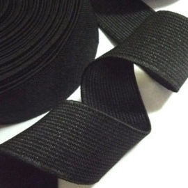 25mm Knit Non-Roll Black Elastic