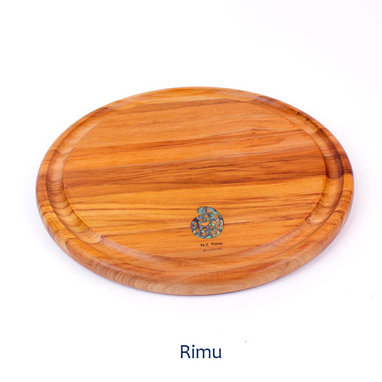 280 round board with groove and paua - rimu made in nz