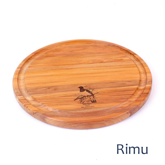 280 round groove board with pigeon engraving rimu