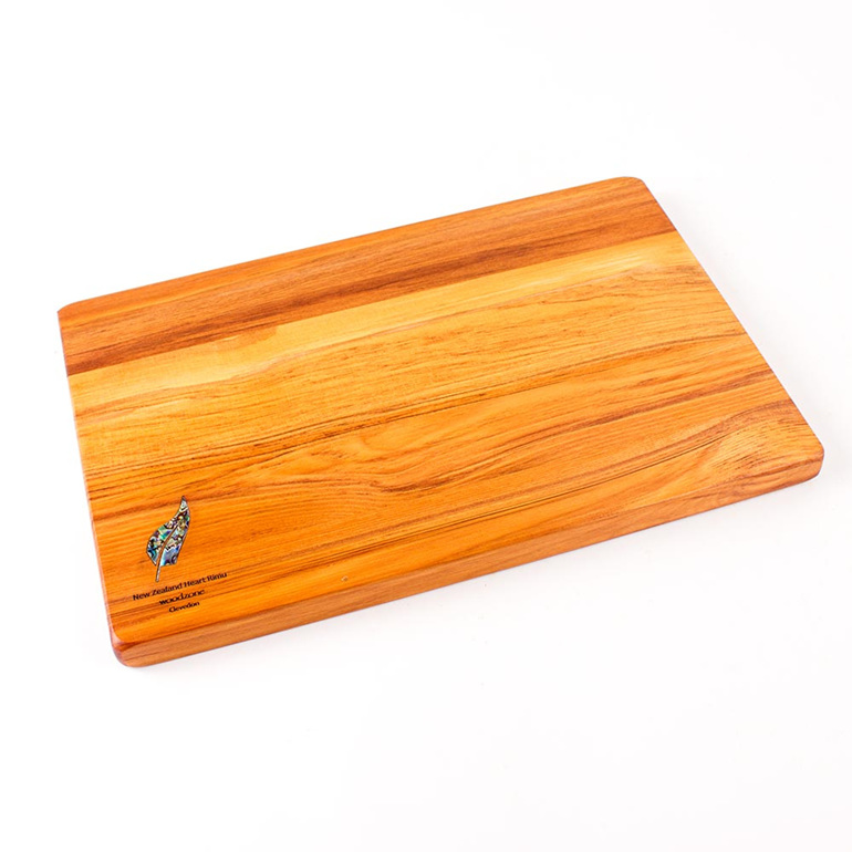 280 x 180 x 14 mm rimu cheese board with paua fern