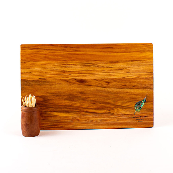 280 x 180 x 14 - rimu cheese board with paua fern