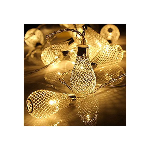 2m 20 Mesh Light Bulb Battery Fairy Lights Warm White