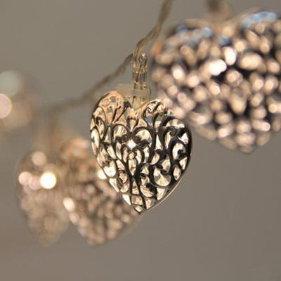 2m 20 Silver Heart Battery Fairy Lights - Warm White